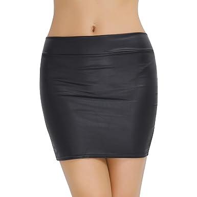 858edb8834 CHICTRY Falda Mujer de Cuero PU de Lápiz Sexy Cintura Alta Atractiva Mini Falda  Corta de Charol Elegante Negra para Fiesta Casual(S-XXXL)  Amazon.es  Ropa  y ...