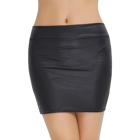 iiniim Falda de Lápiz Corta de Cuero Cintura Alta Sexy Mujer ...