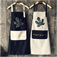 HENGTONG Simple Kitchen Cooking Apron, Cotton Home Cleaning Waterproof And Oil-proof Smock, Men And Women, Adult, Cafe Overalls, Waterproof Apron, Olive Leaf Black, One Size (Color : Gray)