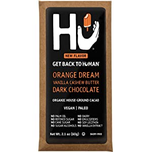 Hu Vegan Chocolate Bars | 4 Pack Orange Dream Vanilla Cashew Butter Chocolate | Gluten Free, Paleo, Non GMO, Kosher Dark Chocolate | 2.1oz Each