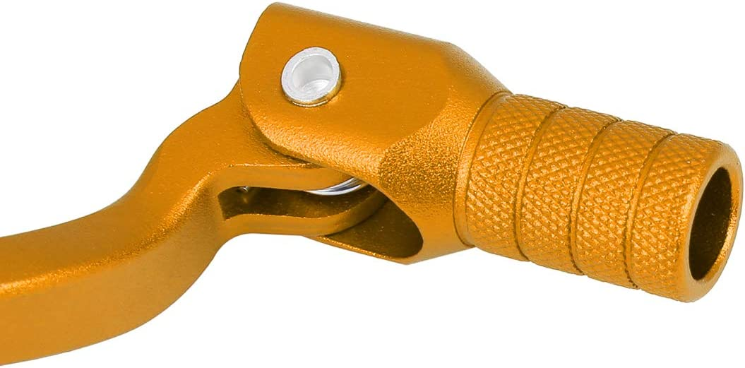 F FIERCE CYCLE 0.39 Inch Aluminum Alloy Motorcycle Shift Lever Folding Gear Shifter Gold Tone