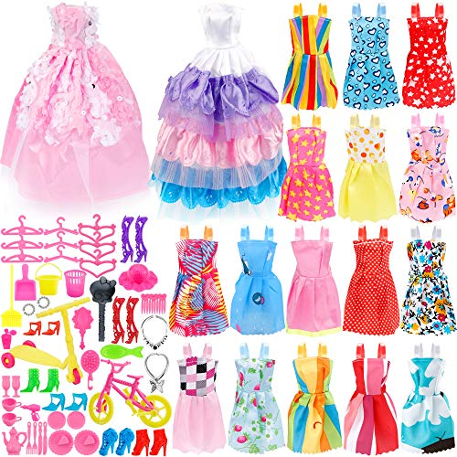 ashion Set for Dressing up Barbie Dolls, Included 18Pcs Wedding Party Outfits Clothes and 55Pcs Doll Accessories Shoes Bags Necklace Girls' Gifts ()