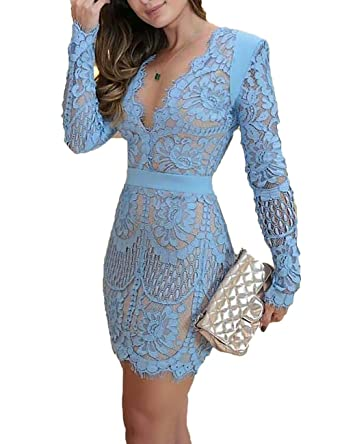 42f4a52b953 Ninimour Women Eyelash Lace Overlay Plunge Neck Bodycon Dress S Sky Blue