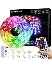 LED Strip Light 5m RGB SMD 5050 LED Lighting Color Changing Full Kit with 44-Keys RF Remote Controller for Kitchen, Indoor, Decoration, TV, Bedroom, Party and Home Decoration, with Sleep Mode …