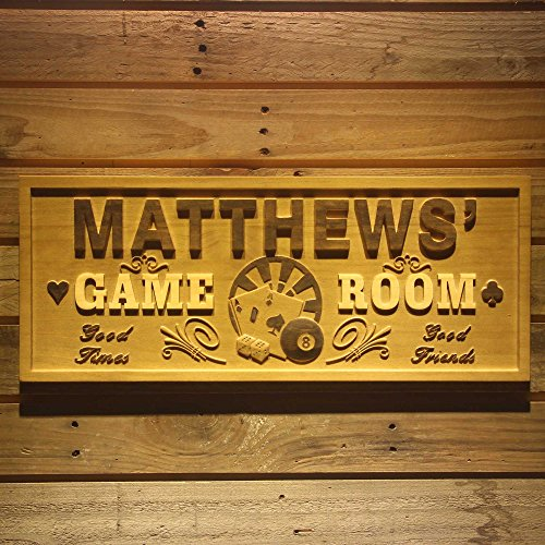 Personalized Wood Poker Sign - ADVPRO wpa0060 Name Personalized Game Room Poker Casino Bar Wood Engraved Wooden Sign - Standard 23