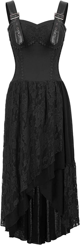 Belle Poque Gothic Kleid Damen Steampunk Kleid Lang Schwarz Corsagenkleid