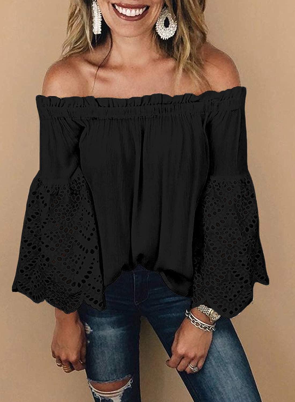 53e4ee6cca Asvivid Womens Off The Shoulder Short Sleeve Tops Pop Pop Trim Tassel Loose  Summer Shirt Blouses at Amazon Women's Clothing store:
