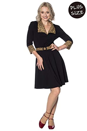 f37026cf6e2 Banned Plus Size Rock N Roll Leopard Dress Black at Amazon Women s Clothing  store