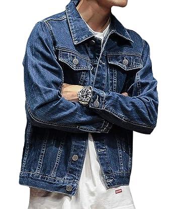 dc9d36434c1 BYWX Men Plus Size Ripped Hole Patches Washed Lapel Button Down Denim  Jacket Coat Dark Blue
