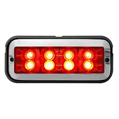 Grand General 81832 Red/Red Medium Rectangular 8 LED Strobe Light: Automotive