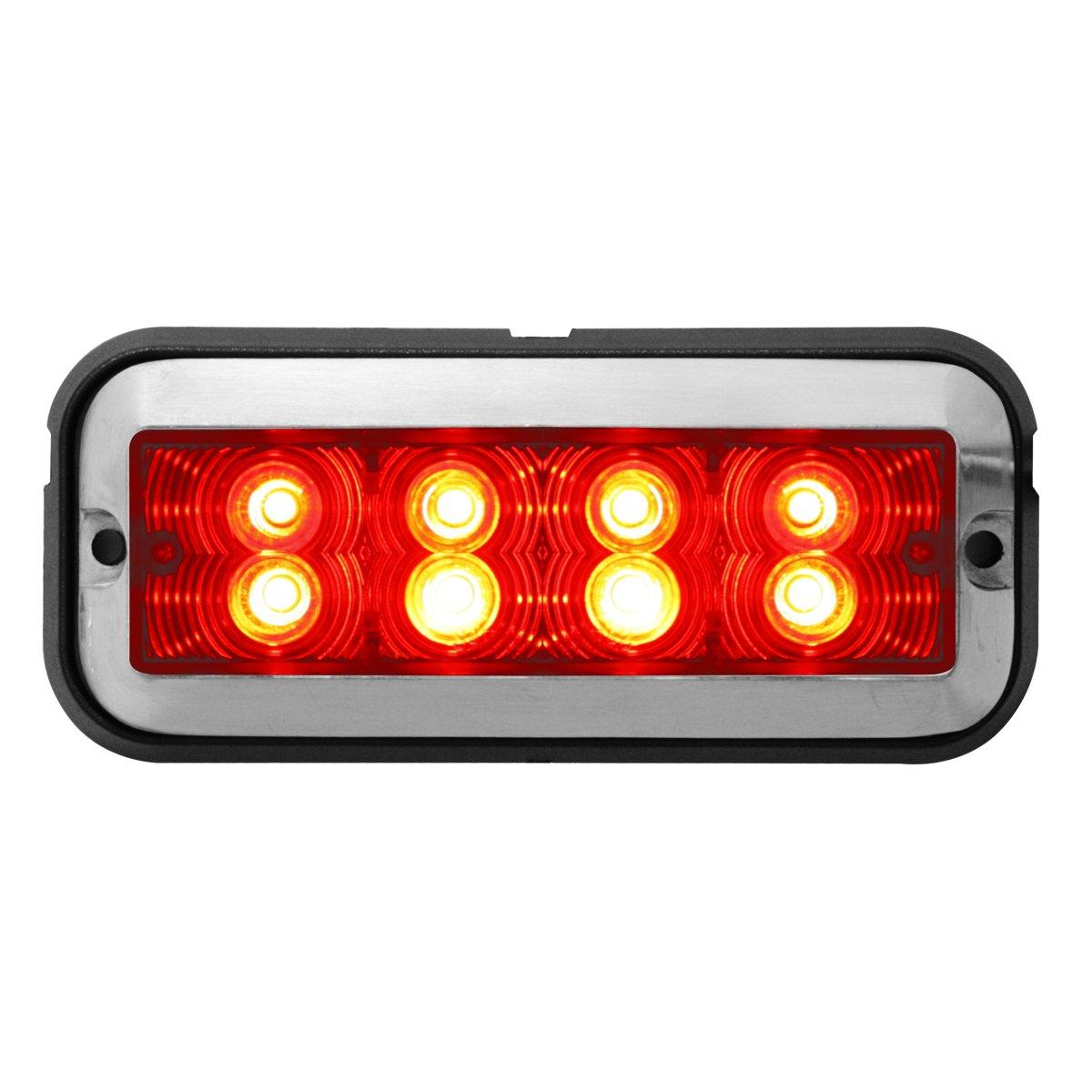 Grand General 81833 Red//Clear Medium Rectangular 8 LED Strobe Light