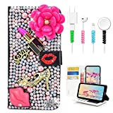 STENES Bling Wallet Case Compatible with Samsung Galaxy S9 - Stylish - 3D Handmade Lipstick Flowers Lips Girls High-Heel Leather Cover with Cable Protector [4 Pack] - Rose Red