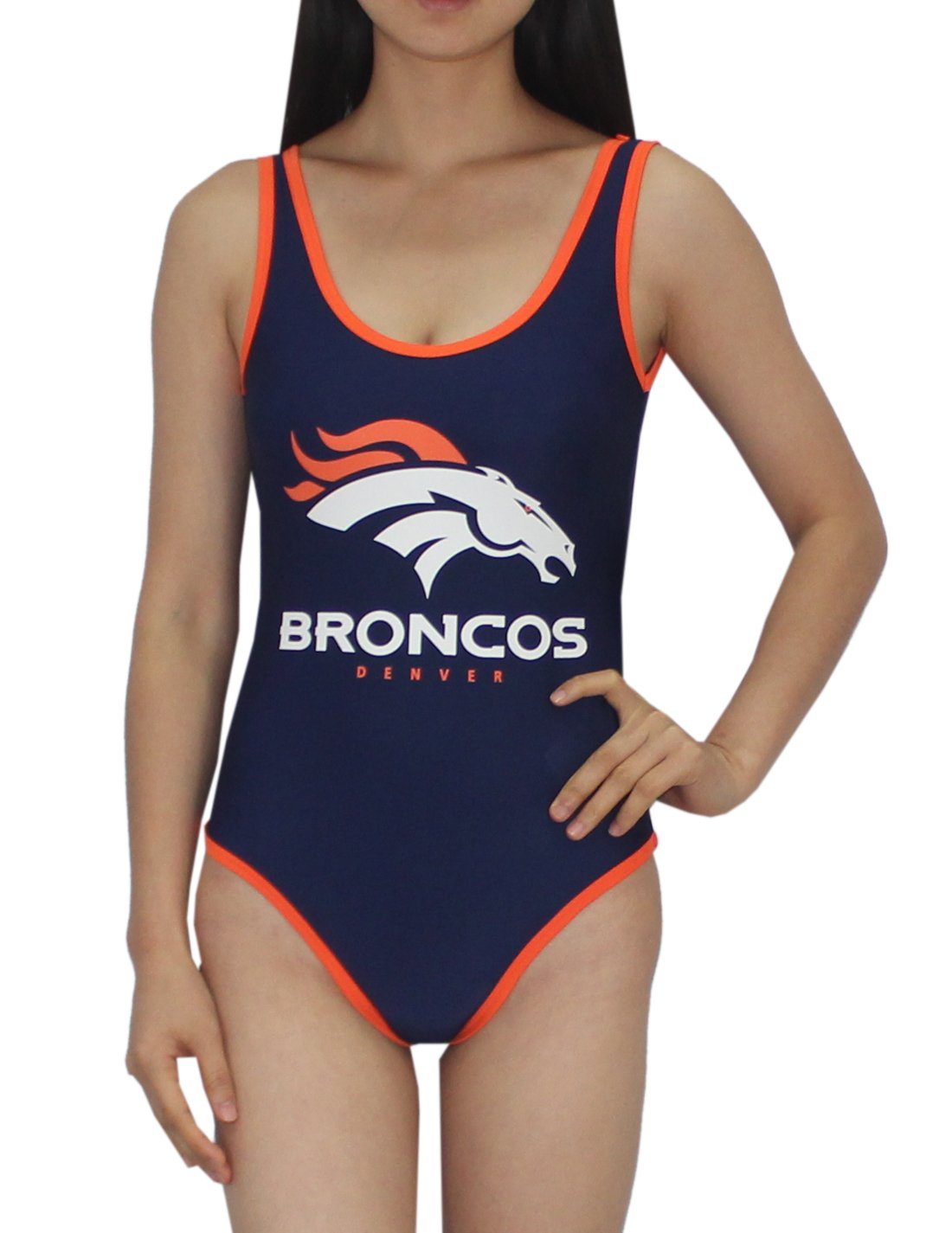 A-Team Apparel Denver Broncos Game Day One-Piece Sleeveless Bodysuit for Women M Dark Blue