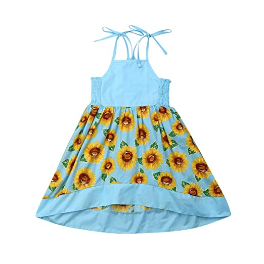 a55e570080ed3 Amazon.com: Toddler Girls Dress Sunflower Spaghetti Straps Princess Party Dress  Girl Summer Clothes: Clothing