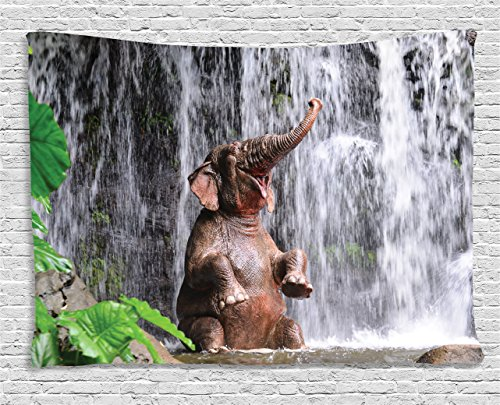 Asian Elephant Animals - Ambesonne Nature Decor Tapestry by, Elephant Bathing at the Waterfall River Exotic Animal Jungle Joy Asian Picture, Wall Hanging for Bedroom Living Room Dorm, 60WX40L Inches, Multicolor