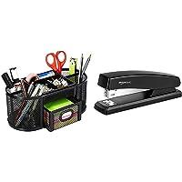 AmazonBasics DSN-02950 Mesh Desk Organizer, Black & 10-Sheet Capacity, Non-Slip, Office Stapler with 1000 Staples, Black