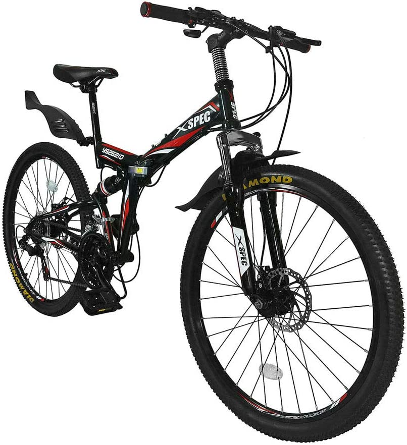 "Xspec 26"" 21-Speed Folding Mountain Bike"