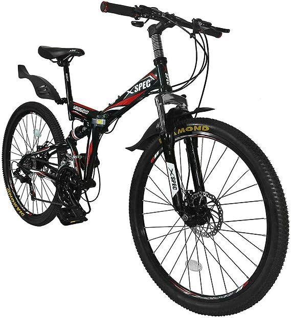 Xspec 26″ 21-Speed Folding Mountain Bike for Adult