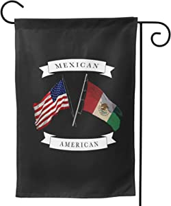 EnpeoZo Mexican American Garden Flag Double Sided Patriotic Flag Outdoor Decoration with Shading Layer 12.5 X 18 Inches