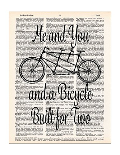 bicycle-built-for-two-art-tandem-bike-dictionary-page-print-85x11-unframed