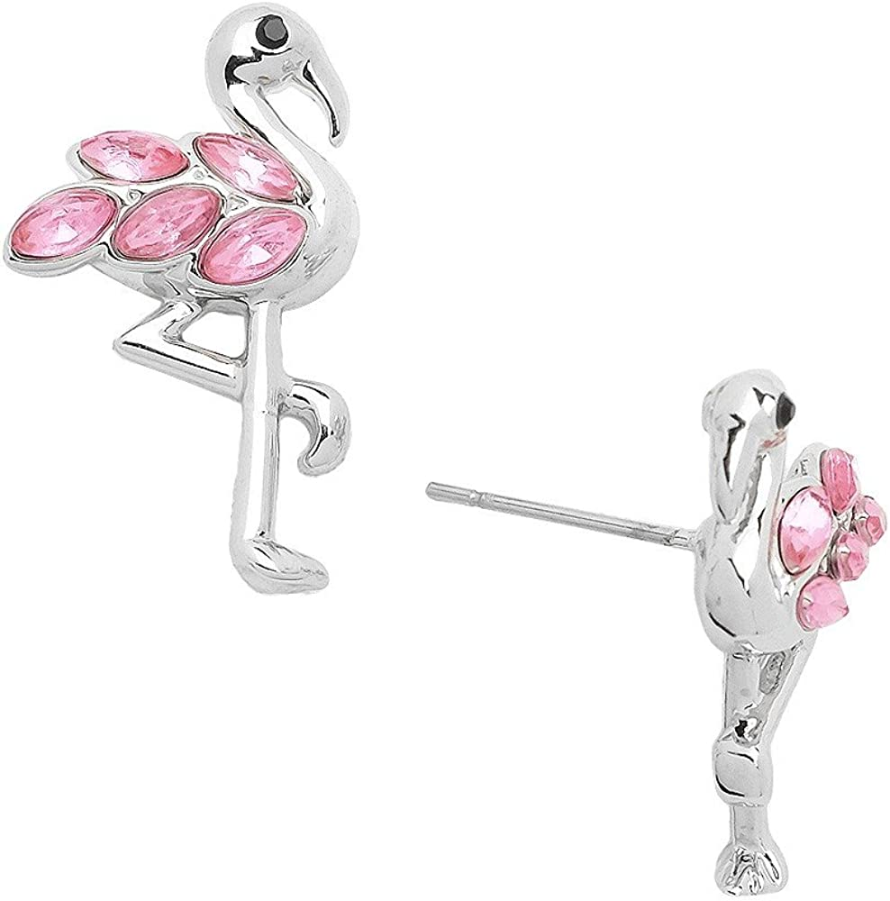 925 Sterling Silver Pink Crystal Flamingo Stud Earrings 22334