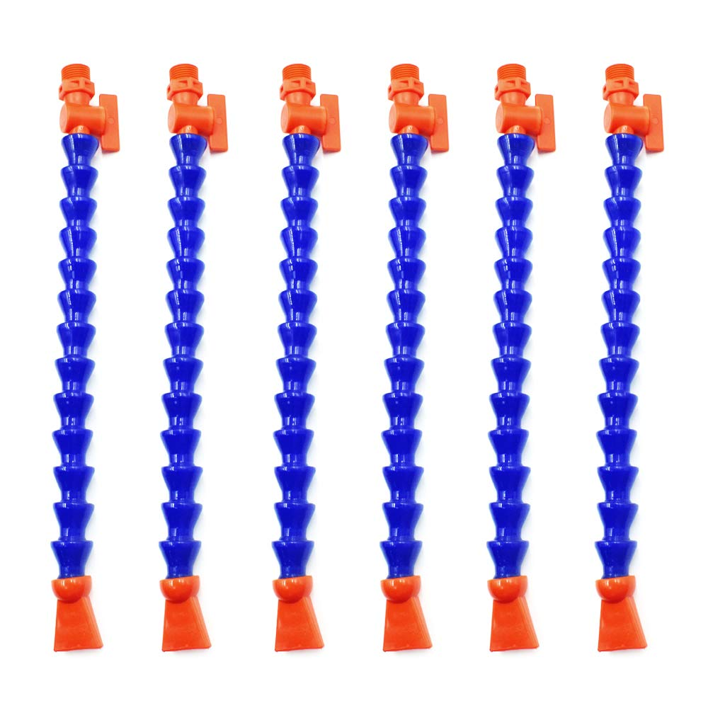 HONJIE Plastic Flexible Water Oil Coolant Pipe Hose Blue Orange Round Nozzle 3/8PT Adjustable with Switch for Lathe, Milling,Water Cooling System - (6 Pcs)