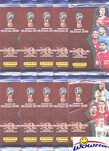 (2018 Panini Adrenalyn XL FIFA World Cup Russia Collection of TEN(10) Factory Sealed Packs with 60 Cards! Look for Superstars Including Lionel Messi, Ronaldo, Neymar Jr,Harry Kane & Many More! WOWZZER!)