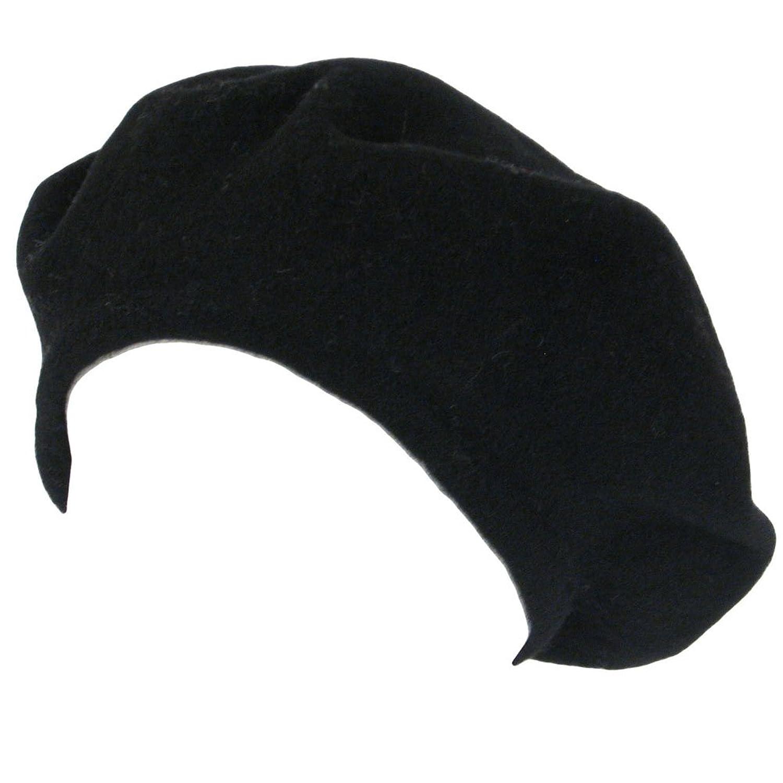 New 100% Wool French Beret TAM Beanie Slouch Hat Cap Black Medium