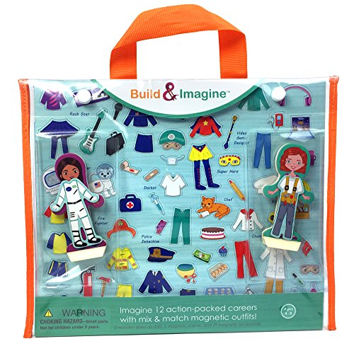Build & Imagine: Career Dolls (magnetic wooden dress-up dolls with carrying (Explorer Dress Up Clothes)