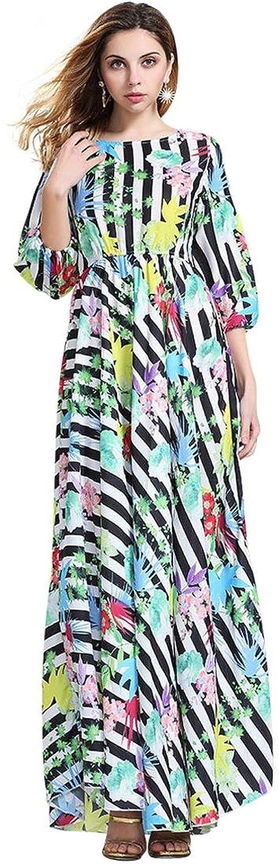 jeansian Damen Floral Chiffon B?hmen Beach-lange Maxi-Sommerkleid WHS063