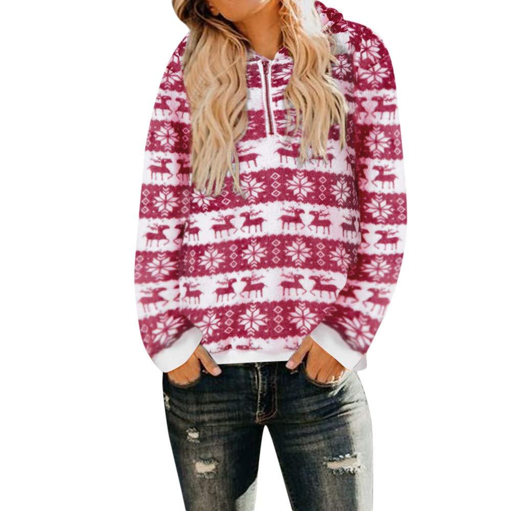 FIRERO Womens Christmas Hooded Sweatshirt Coat Ladies Winter Warm Zipper Pockets Outwear