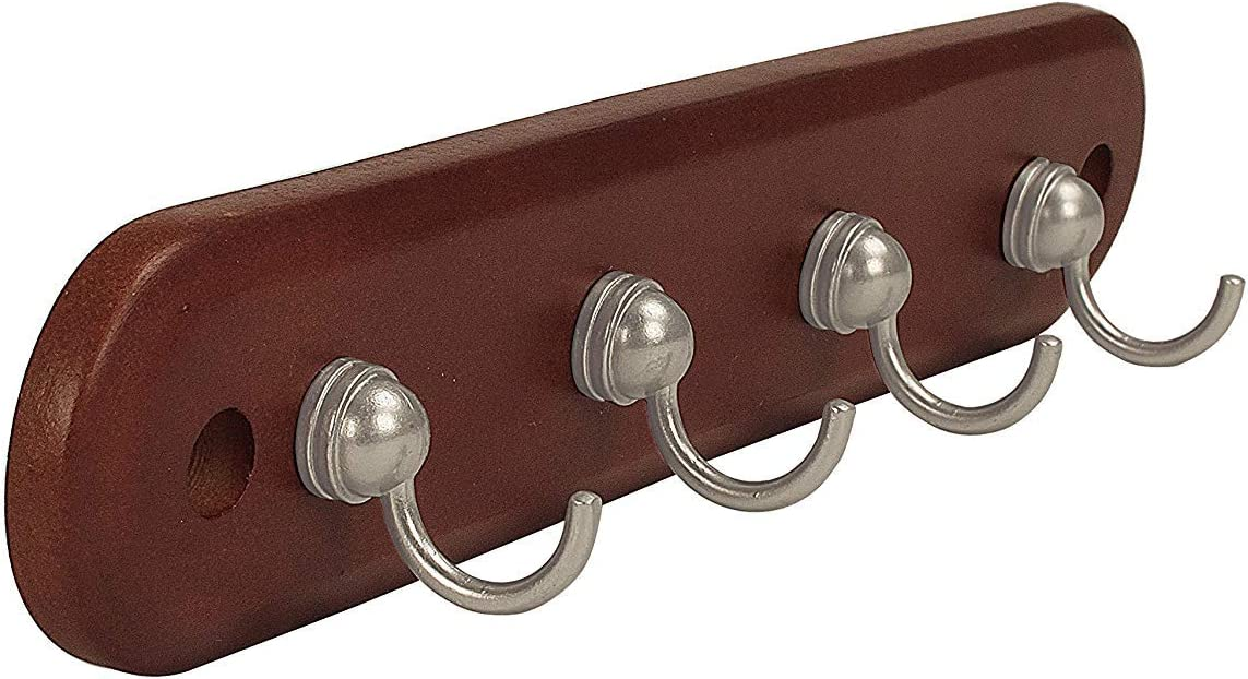 Spectrum Modern Entryway Organizer Wall Décor Diversified Four Key Rack Wood Hooks 1 Count Walnut Satin Nickel Home Kitchen