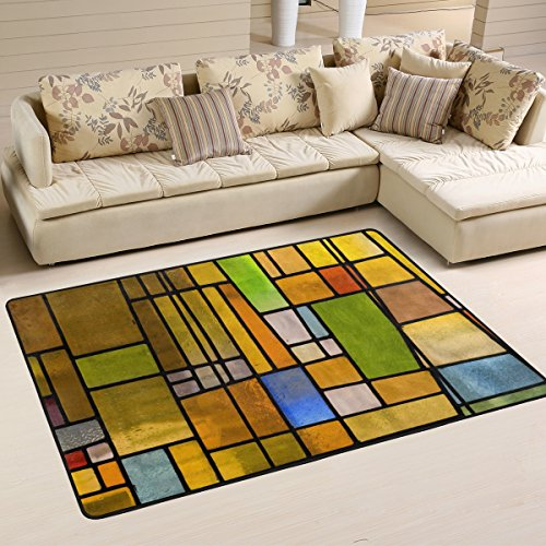 XiangHeFu Personalized Area Rugs Stained Glass Window 3'x2' (36x24 Inches) Floor Doormats Mat Soft for Living Room Bedroom Home Kitchen Decorative