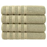 Premium, Luxury Hotel and Spa Quality, 100% Genuine Cotton, 27x55 Inches 4-Piece Turkish Bath Towel Set for Decorative Bathroom, Maximum Softness and Absorbency by American Soft Linen, Sand Taupe