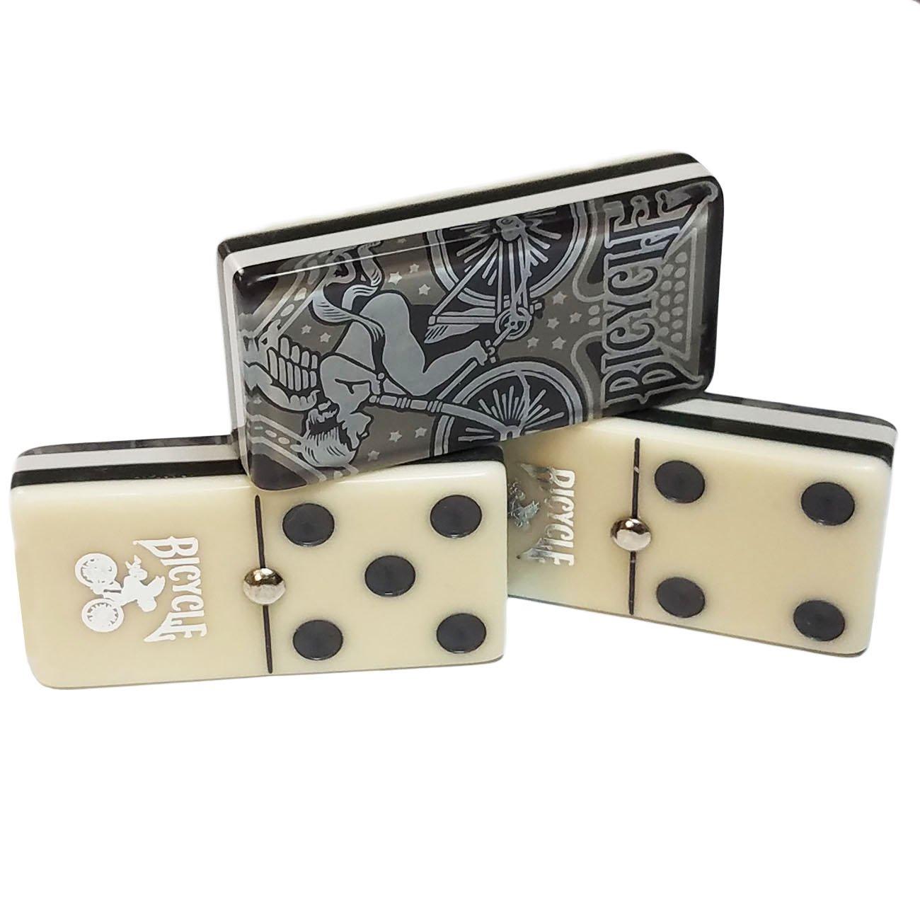 Marion Jumbo Domino Double Six Bicycle Card Back - Deluxe Wood Case