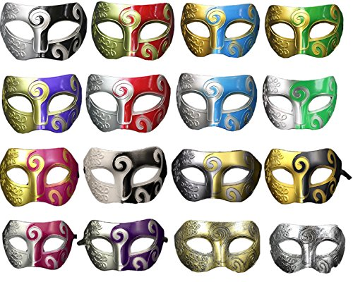 CISMARK Multiple Colors Retro Masquerade Mask Mardi Gras Costume Party Accessory(Pack Of 16)