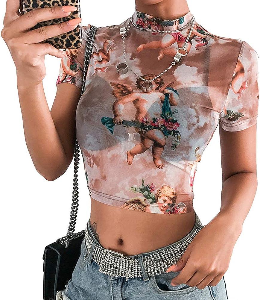 Details about  /Woman Mesh Short Sleeve Crop T-shirt angel Printed Ruffle Mesh Crop T-shirt