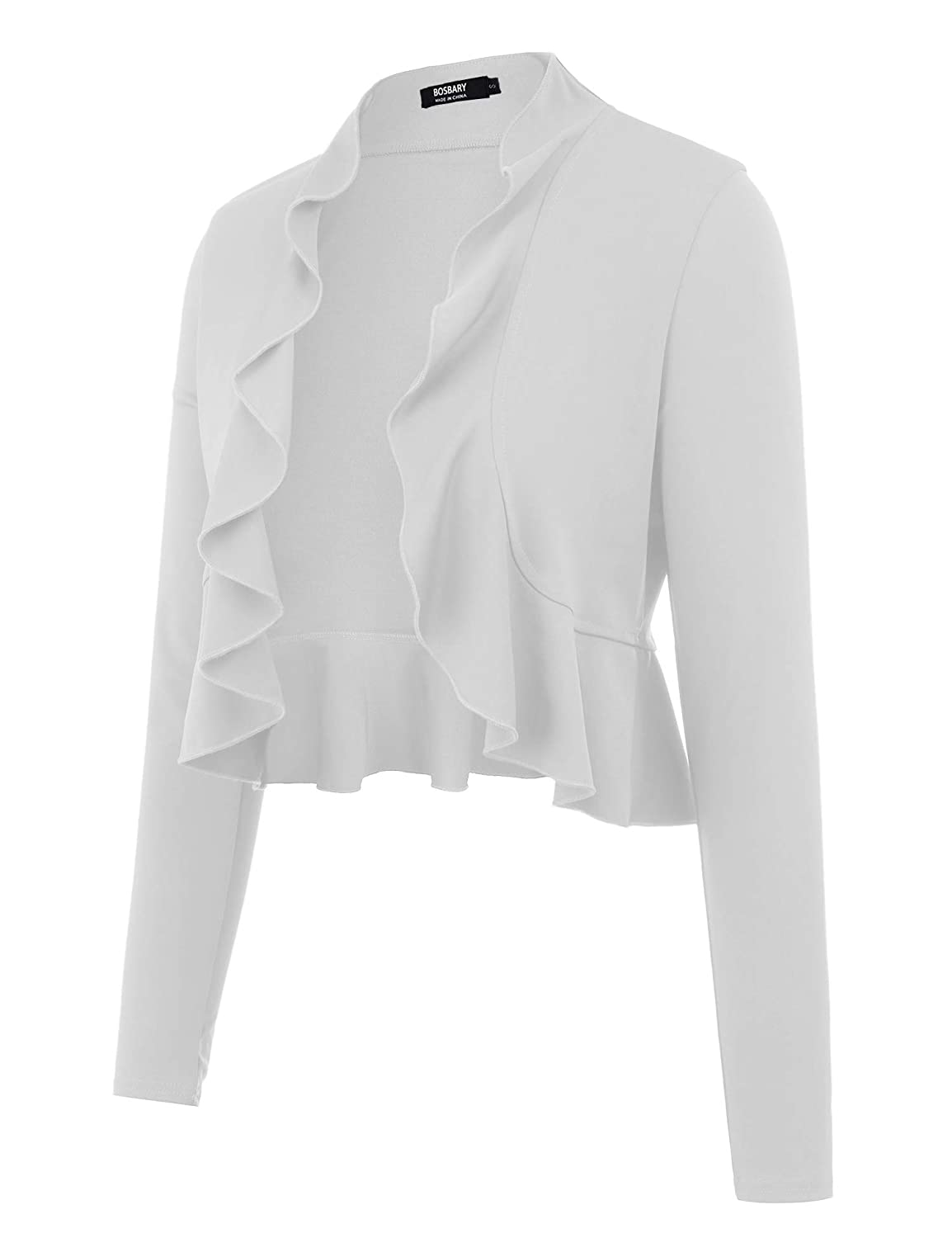 White bosbary Women's Open Front Cropped Cardigan Long Sleeve Casual Shrugs Jacket Draped Ruffles Lightweight Sweaters