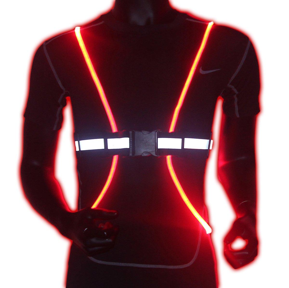 Reflective Safety Led Vest Belt With Fiber Optics Doerdo Adjustable Strobe Light Constant And
