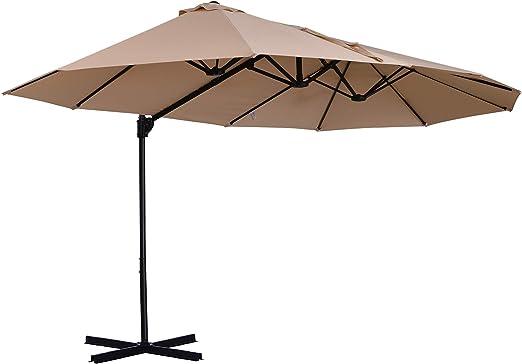 Sombrilla Doble Parasol Grande Inclinable para Jardín PatioTerraza Playa con Manivela Abrir y Cerrar Fácilmente 12 Varillas de Acero Ofrece Una Alta Estabilidad Color Marfil y Negro 270x460x250cm: Amazon.es: Jardín