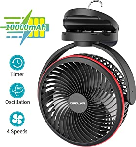 OPOLAR 10000mAh Clip on Fan, 7-Inch Battery Operated Desk Fan, 4 Speeds Portable Fan Rechargeable, Strong Wind, Time Setting , 360° Rotation,USB Fan for Bedroom Camping Tent Beach or Treadmill Car, Black