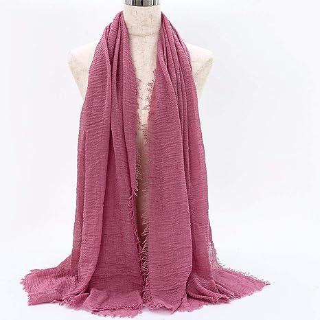 LAIGOUB Moda Mujer Musulmana Arruga Hijab Bufanda Foulard Algodón ...