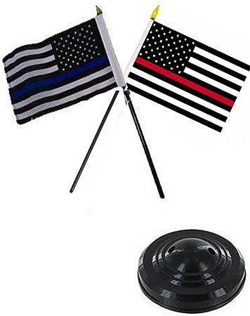 "United States USA 4/""x6/"" Flag Desk Set Table Stick Black Base"