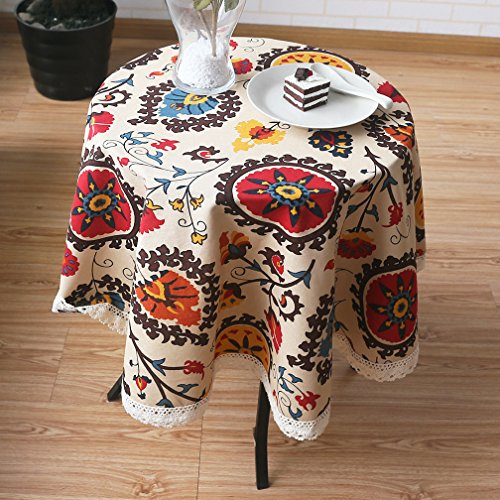 Aothpher Modern Boho Floral Jacquard Washable Round Tablecloths Sunflower with Lace for Round Table, Diameter 47 Inches
