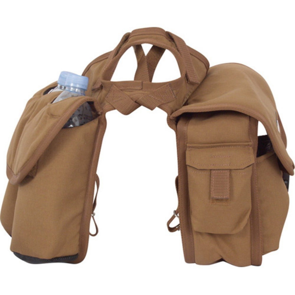 Cashel Quality Deluxe Medium Horse Saddle Pommel Horn Bag, Insulated Padded Pockets, Two Water Bottle Pockets, Camera or Cell Phone Pocket, 600 Denier Material, Size: Medium Color: Brown