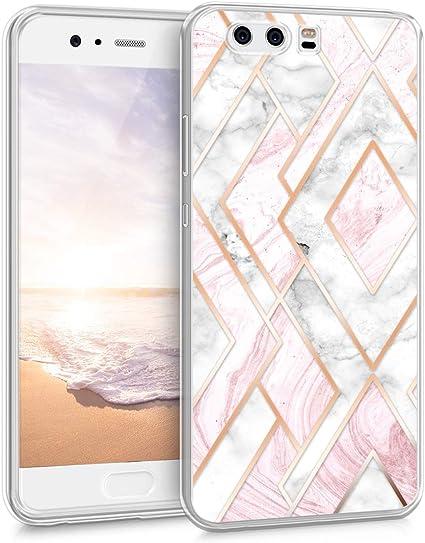 kwmobile Coque Compatible avec Huawei P10 - Étui de Protection en Silicone - polygones Or Rose-Blanc-Rose Ancien