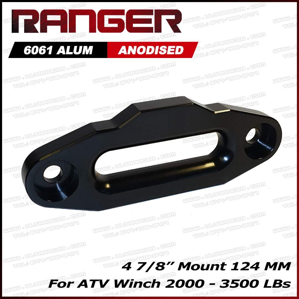 Ranger ATV Aluminum Hawse Fairlead For 2000-3500 LBs ATV Winch 4 7/8' (124MM) Mount by Ultranger Glossy (Black) AHF-BLACK