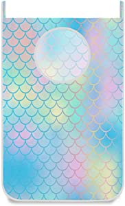 Mermaid Fish Scale Hanging Laundry Hamper Bag Pink Blue Rainbow Print Tail Dirty Clothes Bag Large Storage Folding Basket Hanging Zippered Laundry Basket for Bathroom College, Closet, Behind Doors