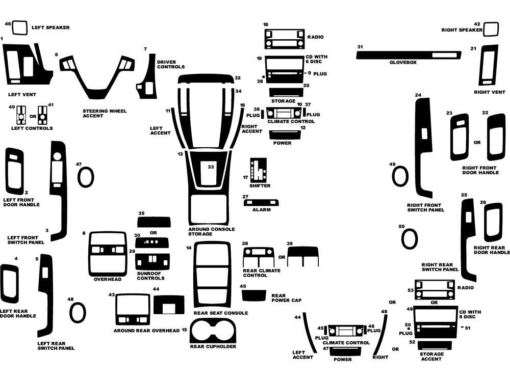 Rdash Dash Kit Decal Trim for Cadillac STS 2005-2007 - Wood Grain (Walnut) Rvinyl