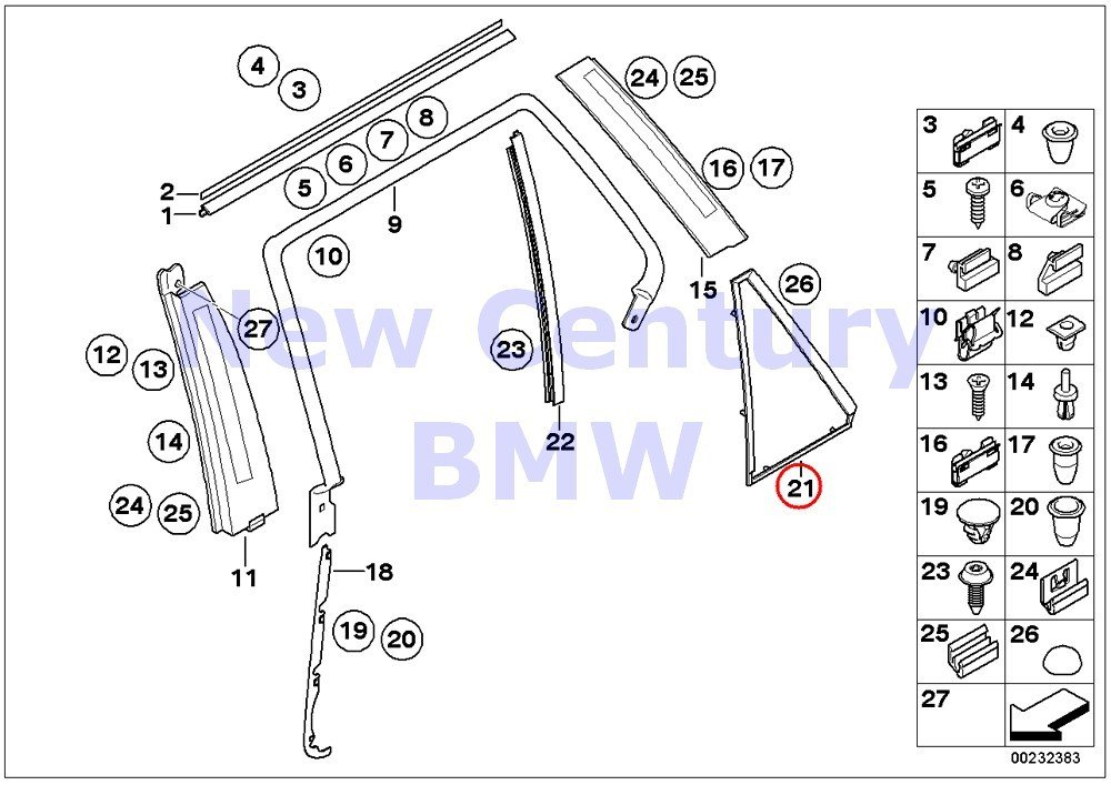 BMW Genuine Trim And Seals For Door Rear Right Frame For Fixed Side Window 4MM X5 3.0i X5 4.4i X5 4.6is X5 4.8is